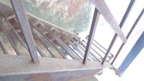 Steel welded ladder design on sky background. stock image