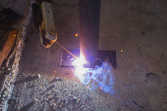 Steel welding close up Royalty Free Stock Image