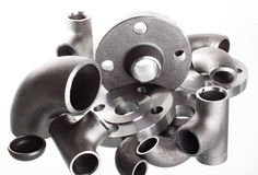 Steel Welding Fittings And Connectors. Elbow, Flanges And Tee. Stock Photos