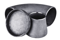 Steel welding fittings and connectors Stock Images