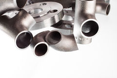 Steel welding fittings and connectors. Elbow, flanges and tee. Stock Photography