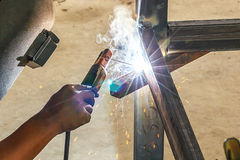 Steel welding in the night. Royalty Free Stock Photography