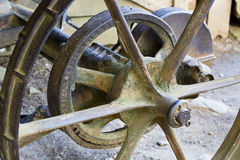 Steel wheel on a farm implement Royalty Free Stock Photography