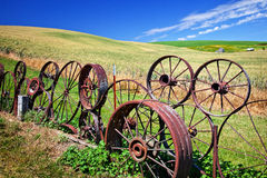 Steel Wheel Fence Fields Palouse Washington Stock Photography