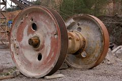 Steel wheel on the pulley Royalty Free Stock Images