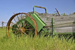 Steel wheeled old manure spreader Royalty Free Stock Images