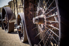 Steel wheels of antique steam engine Royalty Free Stock Photo