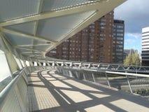 Steel white footbridge Royalty Free Stock Photo