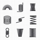 Steel wire flexible spiral coils spring. On notebook page. Vector illustration stock illustration