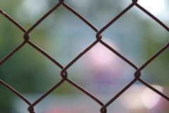Steel wire net fence with blurred green background royalty free stock photo