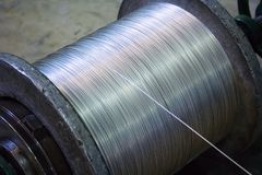Steel wire reel. Steel wire on a reel at manufacturing. Landscape orientation Stock Photography