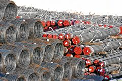 Steel wire roll and pipe Stock Photos