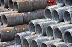 Steel wire roll and pipe Royalty Free Stock Image