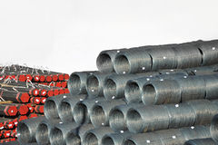 Steel wire roll and pipe. Stacked steel wire roll and pipe, ready for shipment in port Royalty Free Stock Photography