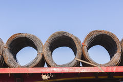 Steel Wire Rolls. For industrial construction on transport trailer Royalty Free Stock Photo