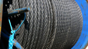 Steel Wire Rope. Heavy duty steel wire cable or rope on a giant reel Stock Photos