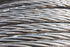 Steel wire rope cable background. Royalty Free Stock Photos