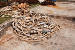 Steel Wire Rope old in harbor. At phuket thailand Stock Images