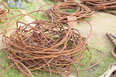 Steel Wire Rope old in harbor Stock Photos