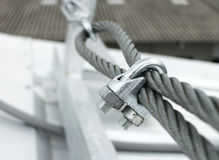 Steel Wire Rope Sling Clip. Steel Wire Rope Sling with locked Clip Stock Images