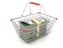 Steel wire shopping basket full of dollars stacks Stock Photography
