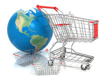 Steel wire shopping baskets and shopping cart in front of globe Royalty Free Stock Photography