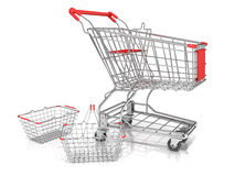 Steel wire shopping baskets and shopping cart Royalty Free Stock Photography