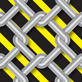 Steel wire weave, danger signs, background. Illustration Stock Photography