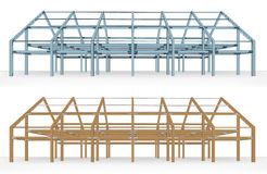 Steel and wooden beam building scheme   Stock Images