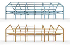 Steel and wooden beam framework building scheme   Stock Photo