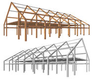 Steel and wooden building scheme isolated angle perspective  Stock Photos