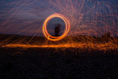 Steel wool on the beach royalty free stock images