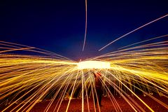 Steel wool on a beach royalty free stock photos