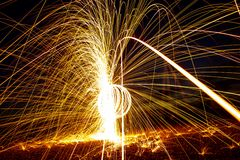 Steel wool on a beach royalty free stock photo