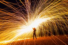 Steel wool on a beach royalty free stock images