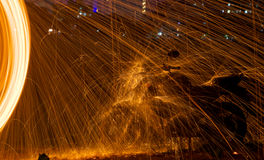 Steel wool. Bike night photography royalty free stock photography