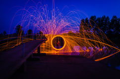 Steel Wool. Burnning fire effect stock photos