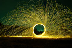 Steel wool. Burnning fire effect at night royalty free stock photo