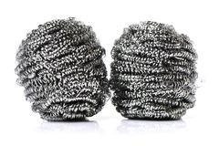 Steel wool Cleaning ball, stainless steel). Isolated on a white background royalty free stock photography