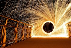 Steel wool fire. Fire ring which was made from steel wool stock photo