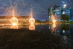 Steel wool fire. At twilight Royalty Free Stock Image
