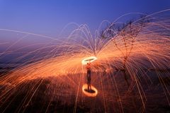 Steel wool fire Royalty Free Stock Photo