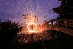 Steel wool fire Stock Photos