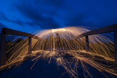 Steel wool firework Royalty Free Stock Image