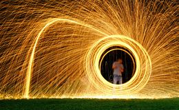 Steel wool light painting. Briliant fireworks from steel wool royalty free stock photography