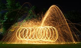 Steel wool light painting. Brilliant fireworks from steel wool stock photo