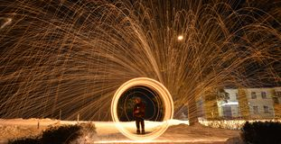 Steel wool. Makin steel wool photography in summer!  Its longexposure photo Stock Images