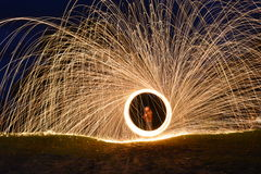 Steel wool. Making steel wool photography in summer!  Its long exposure photo Stock Photos