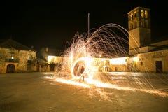 Steel wool at night Royalty Free Stock Photo