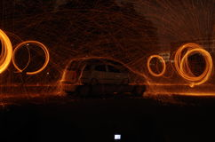 Steel wool. Night photography car steel wool royalty free stock photo